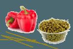 салат из зеленых горошек и помидоров